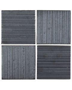 "Arto Brick - Metallic: Corduroy Graphite 4""x4"" - Ceramic Tile"