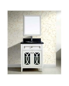 Dawn® Vanity Set ; Counter Top (AACT302134-01), Cabinet (AACC302134-01) & Mirror (AAM2230-01), Beige White cabinet with black top