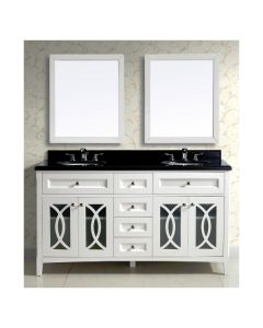 Dawn® Vanity Set;  Counter Top (AACT602134-01), Cabinet (AACC602134-01) & 2 Mirrors (AAM2230-01), Beige White cabinet with black top