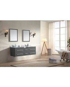 Dawn® - Gloria Series: Dark Grey Double Sink Floating Cabinet - 60""