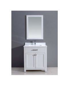 Dawn® Vanity Set:  Counter Top (AAMT302135-01), Cabinet (AAMC302135-01) & Mirrior (AAM2230-00), Pure White