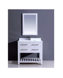 "Dawn® Bohemian Style Vanity Set 36"" w/ Single Sink & White Quartz Top"