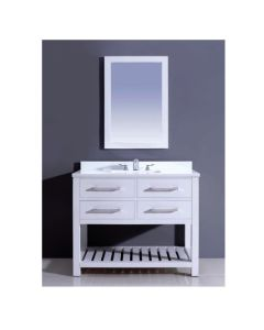 "Dawn® Bohemian Style Vanity Set 42"" w/ Single Sink & White Quartz Top"