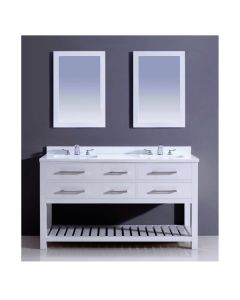 "Dawn® Bohemian Style Vanity Set 60"" w/ Double Sink & White Quartz Top"
