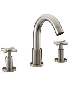 "Dawn® 3-hole widespread lavatory faucet with cross handles for 8"" centers, Brushed Nickel (Standard pull-up drain with lift rod D90 0010BN included)"