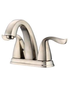 "Dawn® 2-hole, 2-handle centerset lavatory faucet for 4"" centers, Brushed Nickel (Standard pull-up drain with lift rod D90 0010BN included)"