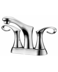 "Dawn® 2-hole, 2-handle centerset lavatory faucet for 4"" centers, Chrome (Standard pull-up drain with lift rod D90 0010C included)"