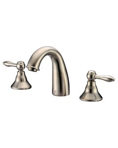 Dawn® 3-hole, 2-handle widespread lavatory faucet, Brushed Nickel (Standard pull-up drain with lift rod D90 0010BN included)