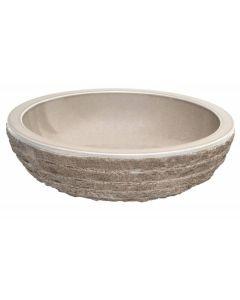 "Beige Glazed Interior Bowl Shaped Striped Washbasin 5""x20"""