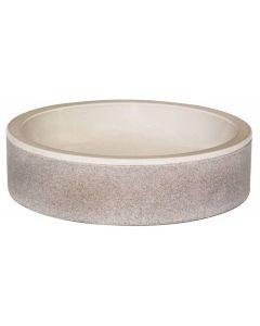 "Beige Glazed Interior Bowl Shaped Striped Washbasin 4""x20"""
