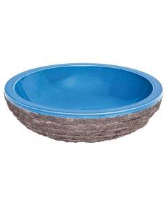 "Blue Glazed Interior Bowl Shaped Striped Washbasin 5""x20"""
