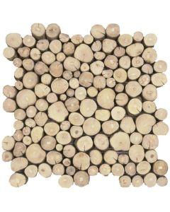 "Coffee Tree Wood 12""x12"" - Round Wood Mosaic"