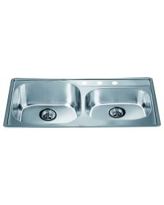 Dawn® Top Mount Double Bowl Sink with 3 Holes