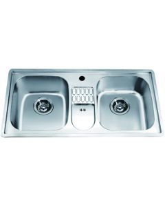 Dawn® Top Mount Equal Double Bowl Sink with Integral Drain Board and 1 Hole