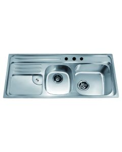 Dawn® Top Mount Double Bowl Sink with Integral Drain Board and 3 Holes (Large Bowl on Right)