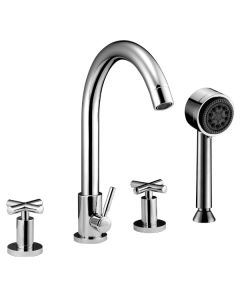 Dawn® 4-hole Tub Filler with Personal Handshower and Cross Handles