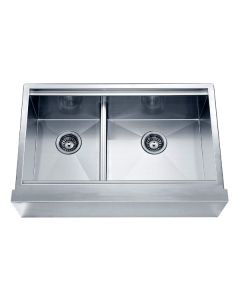 Dawn® Undermount Double Bowl with Straight Apron Front Sink (Small Bowl on Left)