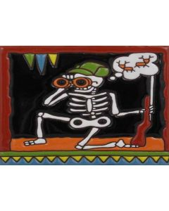 Talavera Tile - Day Of The Dead: Hunting