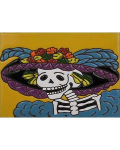 Talavera Tiles - Day Of The Dead: Lady Profile Blue