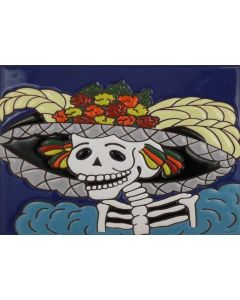 Talavera Tiles - Day Of The Dead: Lady Profile Yellow