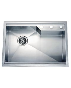 Dawn® Dual Mount Square Single Bowl Sink with Rear Corner Drain & 3 Holes