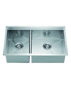 Dawn® Undermount Double Bowl Square Sink (Small Bowl on Left)