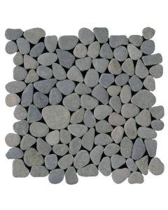 """Grey Rectified Matte Pebble 12""""x12"""" - Interlocking Pebble Mosaic"""