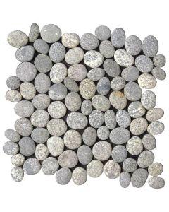 "Speckled Rectified Matte Pebble 12""x12"" - Interlocking Pebble Mosaic"