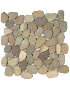 "Golden Rectified Matte Pebble 12""x12"" - Interlocking Pebble Mosaic"
