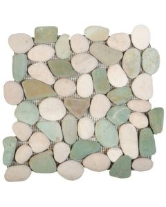 "White/Green Rectified Matte Pebble 12""x12"" - Interlocking Stone Mosaic"