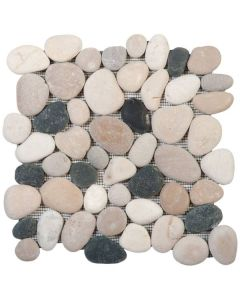 "White/Grey/Beige/Black Rectified Matte 12""x12"" - Interlocking Stone Mosaic"