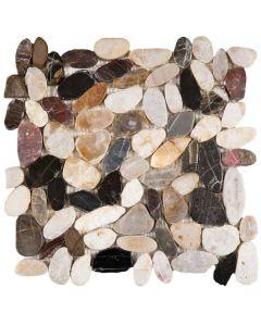 """Mix Sliced Polished Pebble 12""""x12"""" - Interlocking Stone Mosaic"""