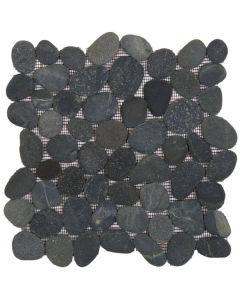 """Black Rectified Matte Pebble 12""""x12"""" - Interlocking Pebble Mosaic"""