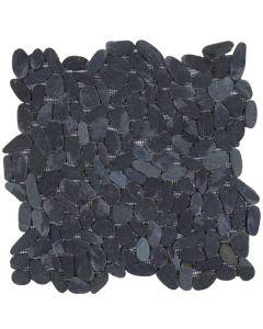 "Black Sliced Matte Pebble 12""x12"" - Interlocking Pebble Mosaic"