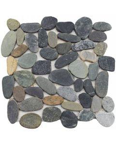 "Dark Sliced Matte Pebble 12""x12"" - Interlocking Stone Mosaic"