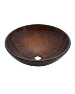 Dawn® Tempered glass, hand-painted glass vessel sink-round shape, brown