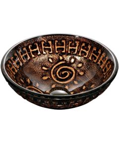 Dawn® Tempered glass, hand-painted glass vessel sink-round shape, Copper and Gold