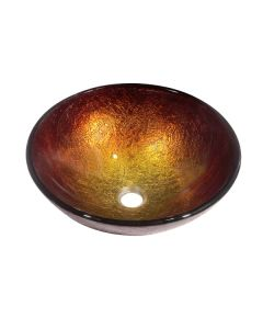 Dawn® Tempered glass, hand-painted glass vessel sink-round shape, Gold and Brown
