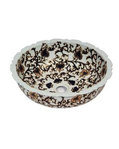Dawn® Ceramic, hand engraved and hand-painted vessel sink-round shape