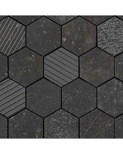 "Arto Brick - Italian Black: Exa/Nero Mix 10""x10"" - Porcelain Mosaic"
