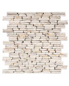 """White Stacked Brick Marble 12""""x12"""" - Interlocking Brick Mosaic"""