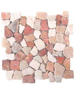 """Onyx White/Red 12""""x12"""" - Interlocking Opus Mosaic"""