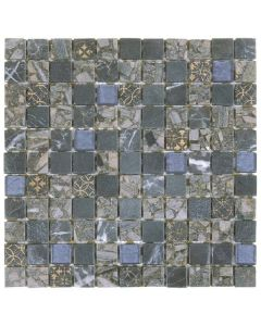 "Grey/Blue Glass Marble 12""x12"" - Mixed Mosaic"