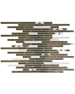 """Glass Silver/Brushed Metal Baguette 12""""x12"""" - Interlocking Mosaic"""