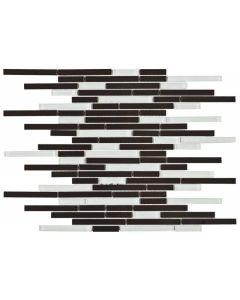 """White/Black Glass & Brushed Metal 12""""x12"""" - Interlocking Mosaic"""