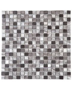 """Mix Grey/Brushed Aluminum 12""""x12"""" - Metal Mosaic"""