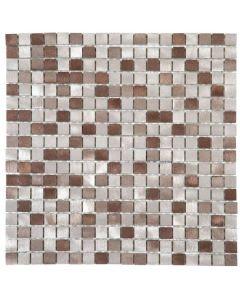 """Mix Taupe/Brushed Aluminum 12""""x12"""" - Metal Mosaic"""