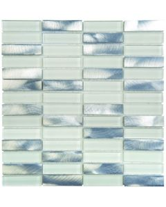 "Aluminum White Glass Mix Rectangles 12""x12"" - Mixed Mosaic"