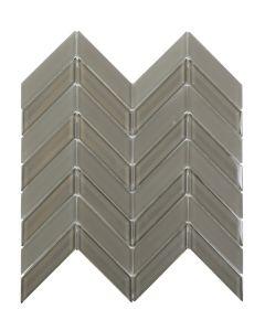 "Ottimo Ceramics - Chevron: Grey Gloss/Matte 12""x12"" - Glass/Stone Mosaic"