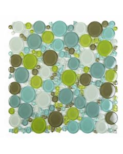 "Ottimo Ceramics - Burst: Blue/Green Max 12""x12"" - Glass Mosaic"